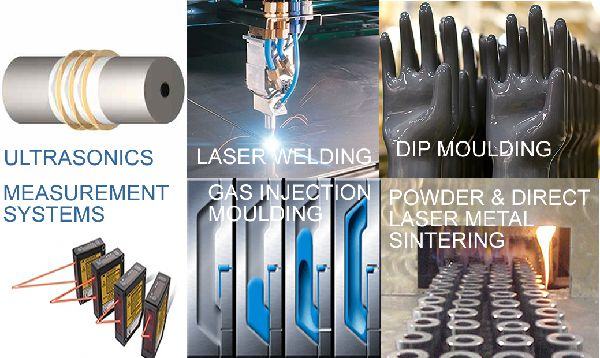 ultrasonics laser welding dip moulding direct metal sintering gas injection moulding
